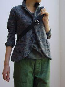 women's gray blazer. green linen pants