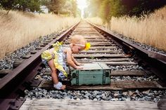 Family Photography, Family Pictures, Family pose ideas, family picture ideas, children, kids, urban, utah photography, baby girl, railroad pictures, suitcase, one year old pictures