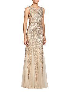 Aidan Mattox Sequined Godet Gown