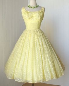 1950's lemon eyelet chiffon dress