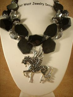 Etsy...chunky cowgirl jewelry, chunky black stones Cowgirl Jewelry, Western Jewelry, Black Stones, Statement Necklaces, Jewelry Making, Inspiration, Etsy, Fashion, Handmade Jewelry