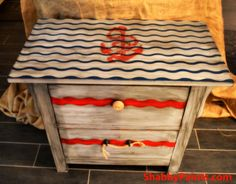 Nautical Driftwood Painted table. Lillian Gray, Black reVAX Marine Blue and Betsy Ross Red.