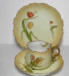 Art Nouveau Fine bone china Martial Redon Limoges 1882 to 1896 Blush and flower Trio by TheMewsCottage on Etsy