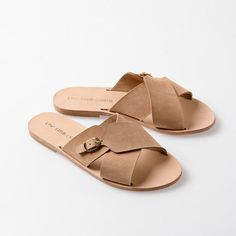 FREE SHIPPING. Galini minimalist leather crossover slip on slides. Customise your colour. Greek leather sandals.