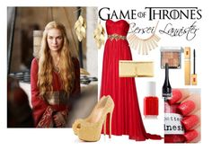 """Cersei Lannister"" by catherinetabor ❤ liked on Polyvore featuring Marchesa, Christian Louboutin, Yves Saint Laurent, Red Herring, Marc by Marc Jacobs, Essie, Bobbi Brown Cosmetics, H&M, Elizabeth Arden and lady"