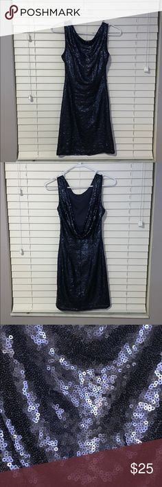"Navy Sequin Homecoming Bodycon Dress Super comfortable navy blue dress, perfect for a semiformal dance! Doesn't itch and has some stretch to it! I'm 5'4"" and a 32DD and it fit perfectly but was a little short.  Worn once From a pet free, smoke free home. Lulu's Dresses Mini"