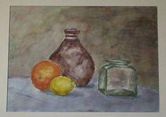 Vasija, cítricos y tarro de cristal