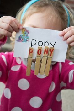 Alphabet clothespins: Clip and spell