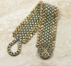 Super Duo Herringbone Cuff Beige Picasso and Ultra Green Luster Super Duos Metallic Green Iris and Bronze Toho Seed Beads  (SD96)