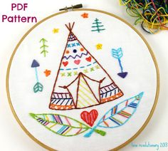 Teepee Western Indian Summer Camp Hand Embroidery by lovahandmade, $3.50