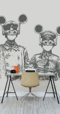 Want something a bit different for your walls? This steampunk illustration wall mural is stylish and will add intrigue to your interiors. Two quirky characters are brought to life with thick cross hatching, all set against a light beige background. It's ideal for home office areas, and a must for steampunk interiors.