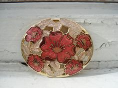 Vintage large oval enamel lotus brooch pink by itsvintageindeed