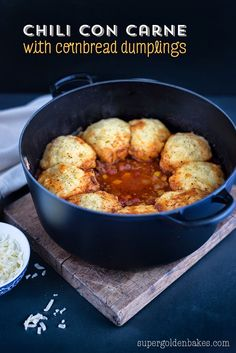 Beef Chili with Cornbread Dumplings: an easy crowd-pleasing recipe that's kid approved and freezer friendly | Supergolden Bakes