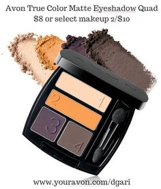 Sumptuous, coordinating matte shades for a chic, sophisticated look. https://www.avon.com/product/avon-true-color-matte-eyeshadow-quad-55158?rep=dgari #matte #eyeshadow #avon #makeup #beauty