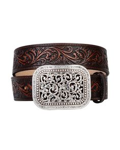 Wear the Wild West. Intricately tooled leather and a bold rhinestone studded filigree-cut removable buckle create its handcrafted look.