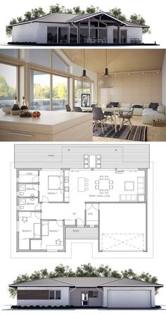 Small house plan with double garage, three bedrooms, vaulted ceiling, open planning.: