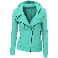 Women Slim Fit Fleece Zip-up Hoodie Jacket with Zipper Point (39 CAD) ❤ liked on Polyvore featuring outerwear, jackets, hoodies, tops and coats