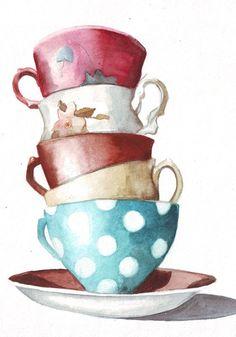 Original watercolor art tower of tea cups polka dots by HelgaMcL, $22.00
