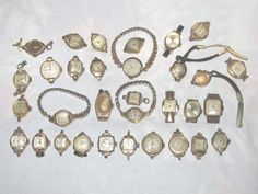 Lot of 32 Antique Ladies Mechanical Wind Up Watch Watches Gold Filled Etc. #Dress