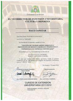 Realización curso gestión de calidad , medioambiente y prevención de riesgos laborables