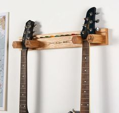 Personalised Guitar Stand And Plectrum Holder By Mij Moj Design | notonthehighstreet.com Guitar Wall Stand, Wooden Guitar Stand, Guitar Shelf, Gift For Music Lover, Music Lovers, Banjo, Super Papa, Types Of Guitar, Guitar Hanger
