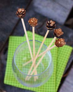 DIY Gold Leaf Pine Cone Stir Sticks | Henry Happened