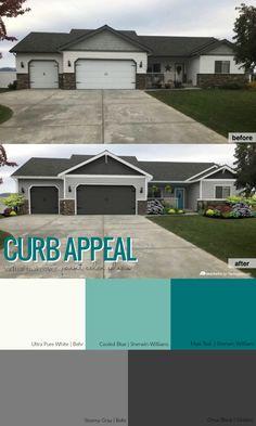 Ideas Garage Door Curb Appeal Exterior Makeover For 2019 Grey Garage Doors, Garage Door Paint, Garage Door Colors, Garage Door Makeover, Door Paint Colors, Garage Door Design, Exterior Makeover, House Paint Exterior, Exterior House Colors