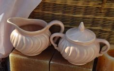 Vintage Franciscan Ware Coronado Cream Pitcher and Lidded Sugar Bowl, Coral #FranciscanWare