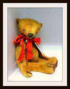 Handcrafted Artist Bear by Michelle-Recycled Vintage Velvet-Antique Style Teddy Bear-Henry-German Greeting. $95.00, via Etsy.  #handmade
