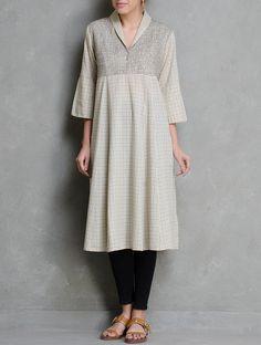 Buy Beige Zari Embroidered Checks V Neck Cotton Kurta Apparel Tunics