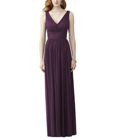 DescriptionDessyStyle2955Fulllength bridesmaid dressV NeckdressShirred bodiceLow back withshirred tailsLux chiffon