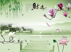 Blooming Spring Chinese Style Wall Mural, 7-Feet 8-Inch By 5-Feet 7-Inch - Amazon.com