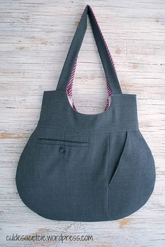 (Image only purse made from man's suit pants, lined with women's shirt and necktie)