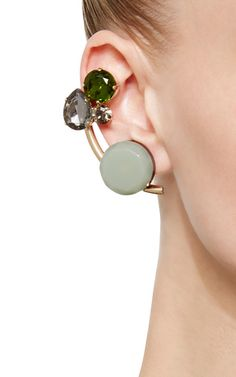 Horn and Crystal Cluster Earrings  by Marni Now Available on Moda Operandi