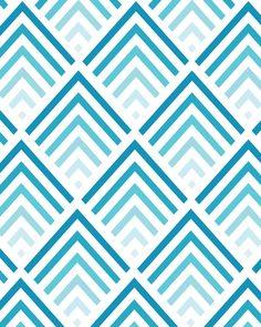 Shades of Blue - Chevron Pattern 8x10 inch Art Print. $17,00, via Etsy.