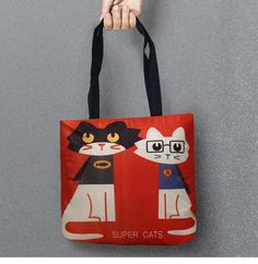 Mr Cat Cartoon Bags Printed Shopping Bag Tote Convenience Women Shoulder Handbags Linen Bag For Food 1 PCS/Lot