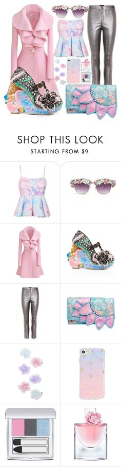 """Edgy Pastel L👀k"" by sanya-styleup on Polyvore featuring Irregular Choice, Isabel Marant, Monsoon, Sonix, RMK and Lancôme #statementshoes #wedgie #pastel #rose #silverpants #colorful #flowers #spring #bandeau #printed #metallic #statement #heels #Clutch #floral #rosecoat #date #girl #polyvore"