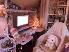 Cute Bedroom Decor, Bedroom Setup, Room Design Bedroom, Room Ideas Bedroom, Gaming Room Setup, Pc Setup, Dope Rooms, Kawaii Bedroom, Otaku Room