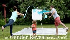 Gender Reveal Idea: make paint splatter art! (Add a quote or the baby's name & display it in nursery.) #DIY #genderreveal