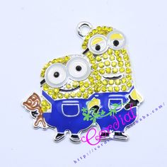 Free Shipping 10pcs/lot Rhinestone Pendant Minion Brother Pendant For Cartoon Characters Jewelry Making CDRP-503714