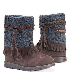 Look at this #zulilyfind! Dark Brown & Blue Rihanna Pull-On Boot - Women #zulilyfinds