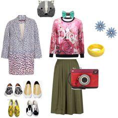 Olive Skirt Fun Street Style by edeln on Polyvore featuring, Comptoir Des Cotonniers, Givenchy, Vans, HVBAO, Diane Von Furstenberg, Bijoux de Famille, R.J. Graziano and Accessorize