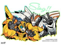 I don't accept a request now. But,I drew some Smokescreen and Bumblebee funart before I begin Tumblr. I post to one of my art:)