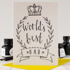 World's Best Dad Birthday Card by BettyEtiquette on Etsy https://www.etsy.com/uk/listing/275009556/worlds-best-dad-birthday-card