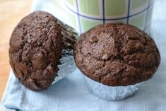 Starbucks hot cocoa chocolate chip muffin (copycat recipe), turned out great! A little heavy though, needs the eggs and sugar whipped together like the brownie recipe. Chocolate Muffin Recipe Easy, Simple Muffin Recipe, Chocolate Muffins, Chocolate Recipes, Healthy Chocolate, Just Desserts, Delicious Desserts, Dessert Recipes, Cocoa Chocolate