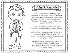 president john f kennedy coloring page craft or poster with mini biography