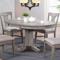 Round Kitchen & Dining Room Sets You'll Love in 2020 Solid Wood Dining Table, Dining Table In Kitchen, Round Dining Table, Oval Table, Round Kitchen, Kitchen Ideas, Dining Room Sets, Dining Furniture, Kitchens