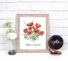 Watercolor poppies, wall art, digital print, watercolor flowers by NikaKoscielny on Etsy