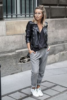 comfortable grey pants with black moto jacket simple casual comfy outfit