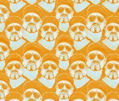 shabbas_orange fabric by susiprint on Spoonflower - custom fabric